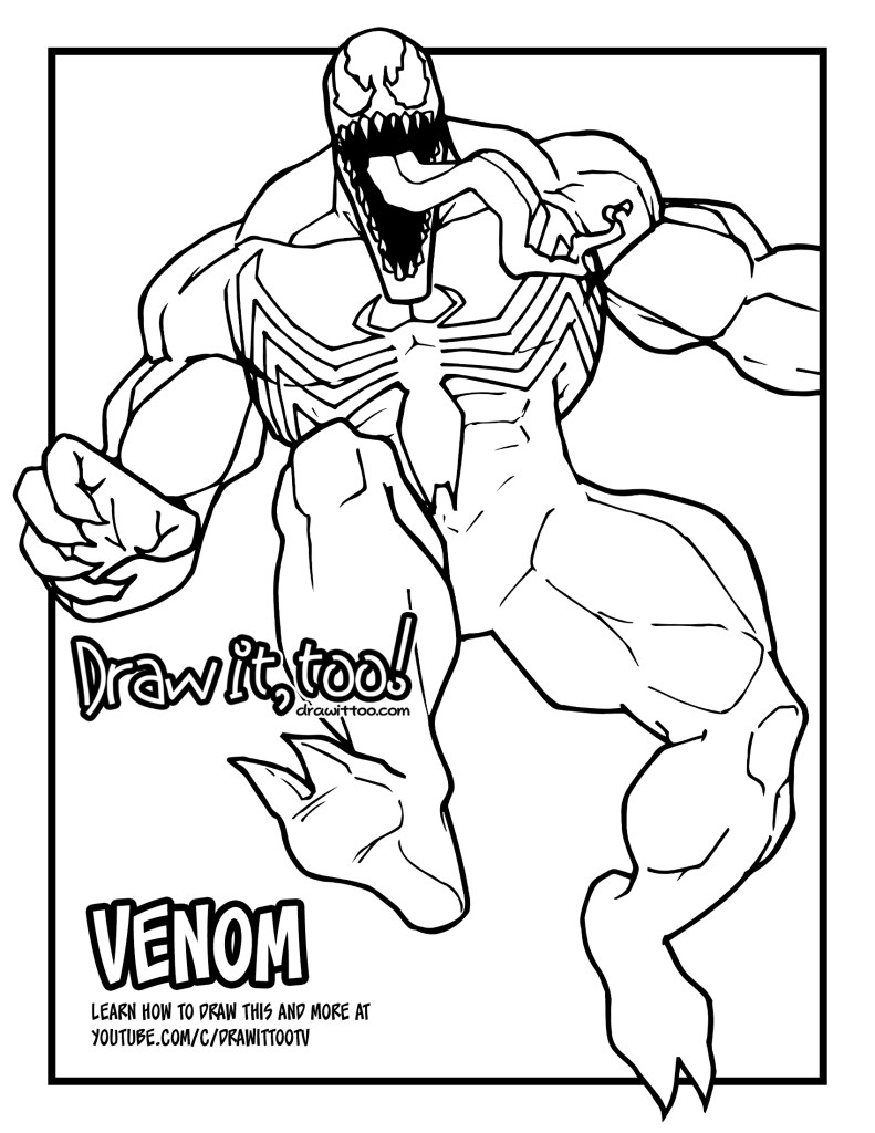 Venom Coloring Pages Lego Venom Spider Marvel Heroes: How To Draw VENOM (Classic Comic Version) Drawing Tutorial
