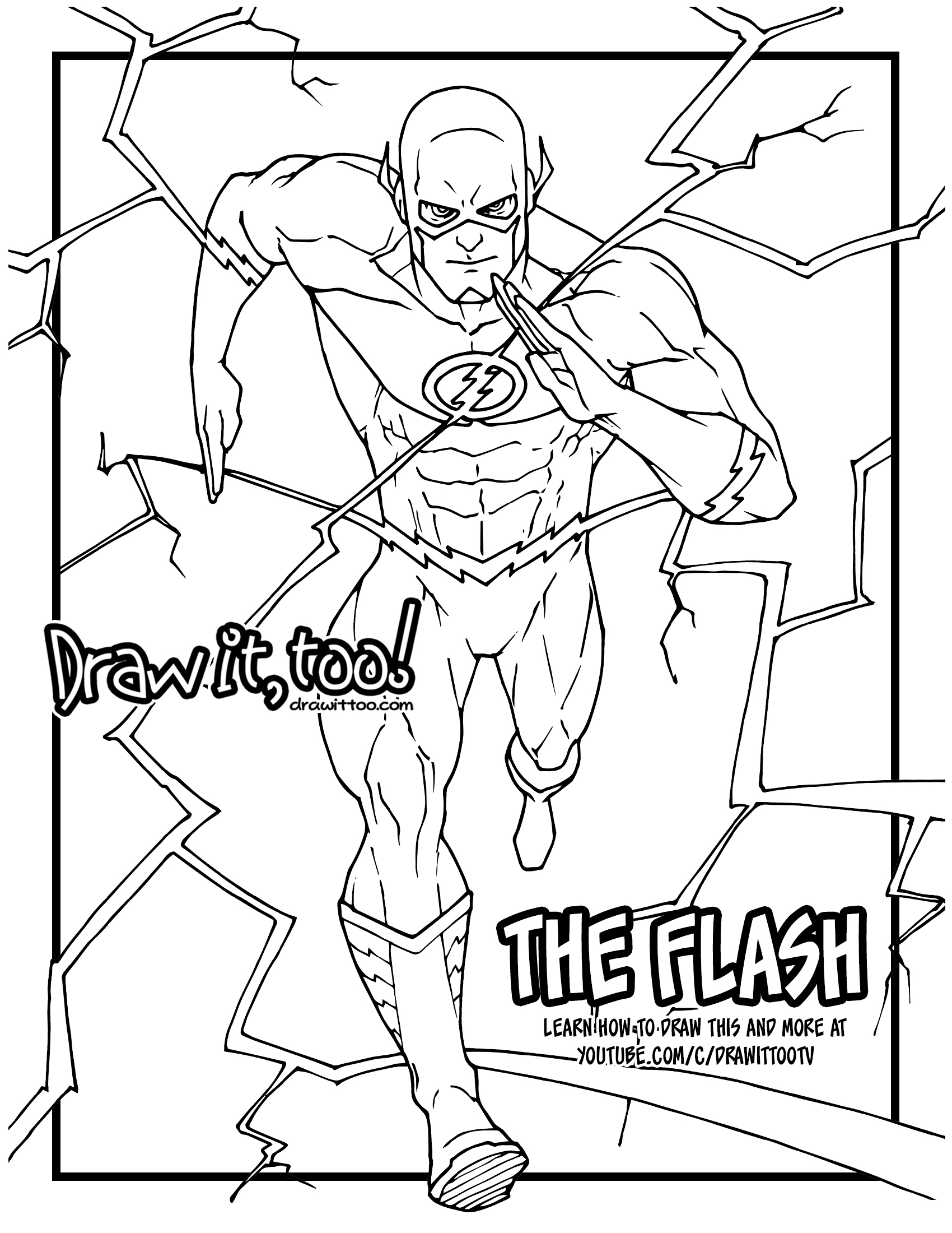 how to draw the flash comic version drawing tutorial draw it too - Green Arrow Coloring Pages