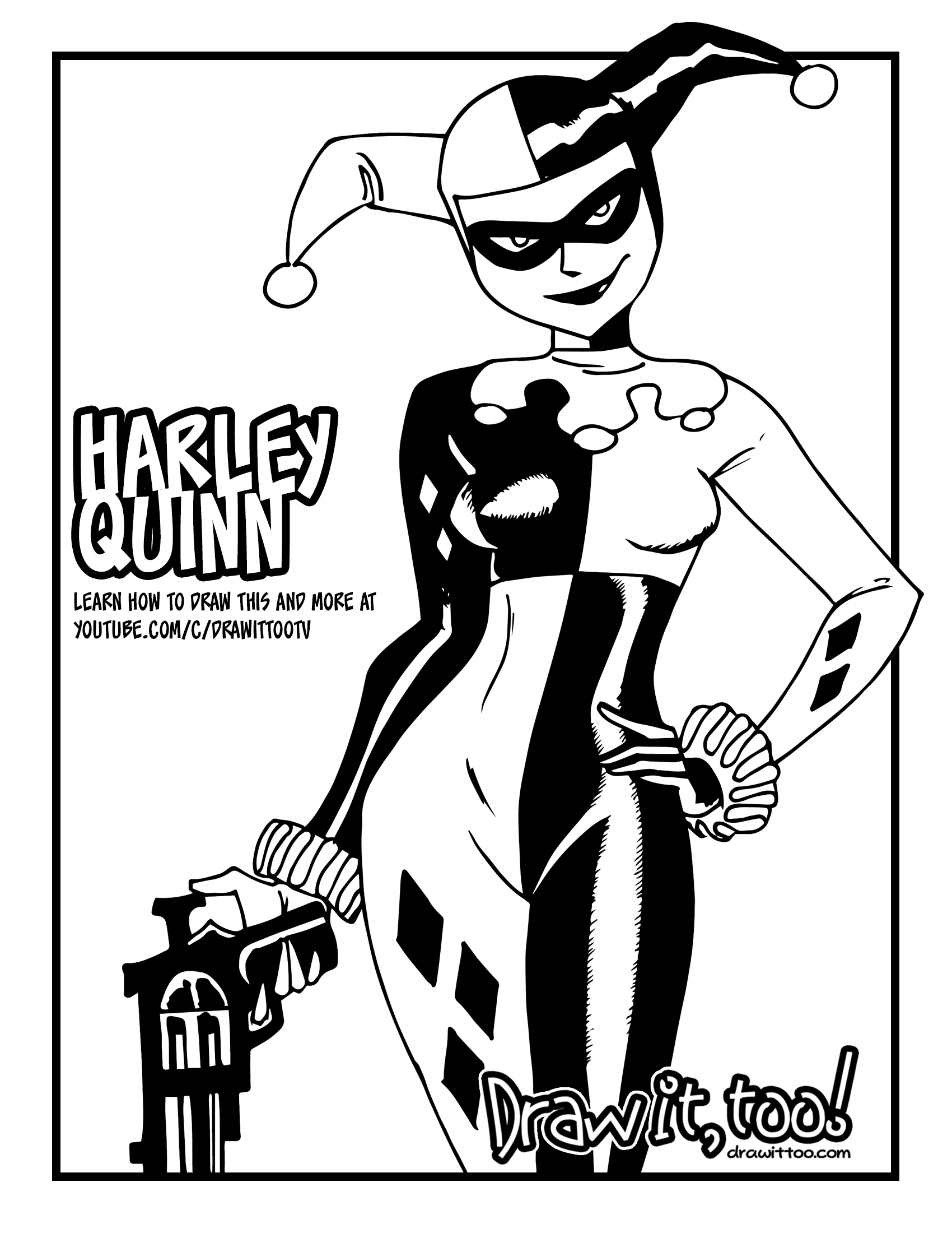 How to Draw HARLEY QUINN (DC Animated Universe) Drawing