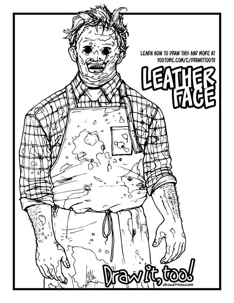 How to draw leatherface the texas chainsaw massacre for Chainsaw coloring pages