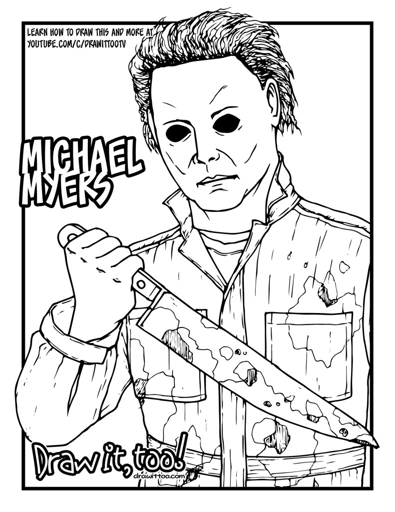 How to Draw MICHAEL MYERS (Halloween) Drawing Tutorial ...