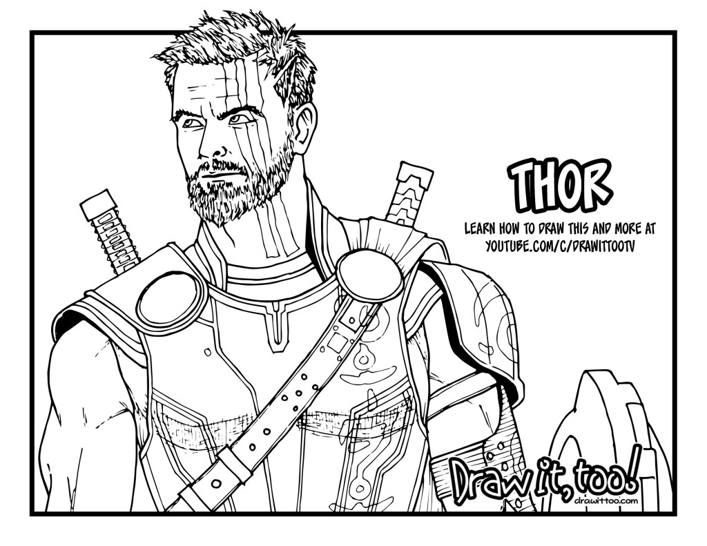 How to Draw THOR (Thor: Ragnarok) Drawing Tutorial - Draw it, Too!