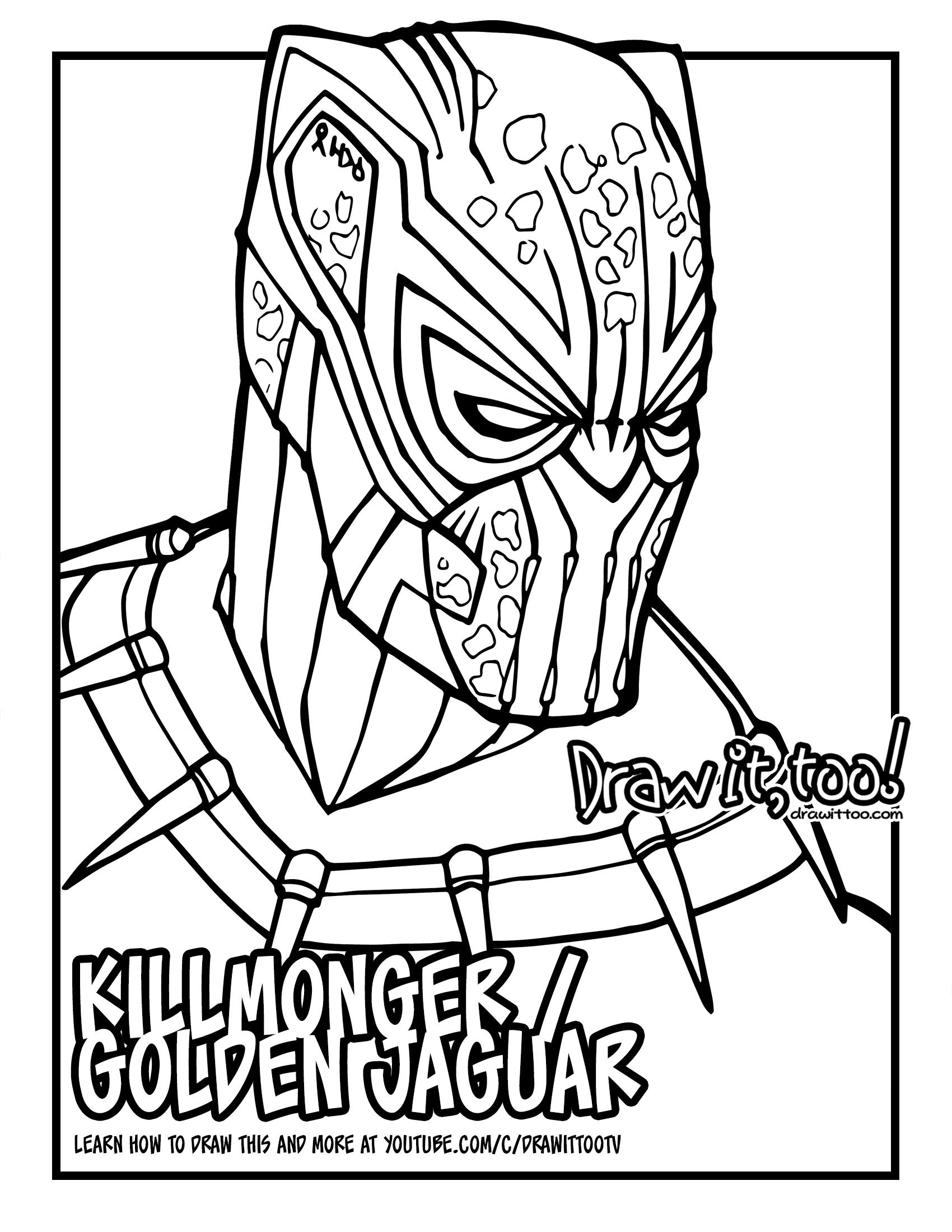 How to Draw ERIK KILLMONGER GOLDEN JAGUAR SUIT (Black