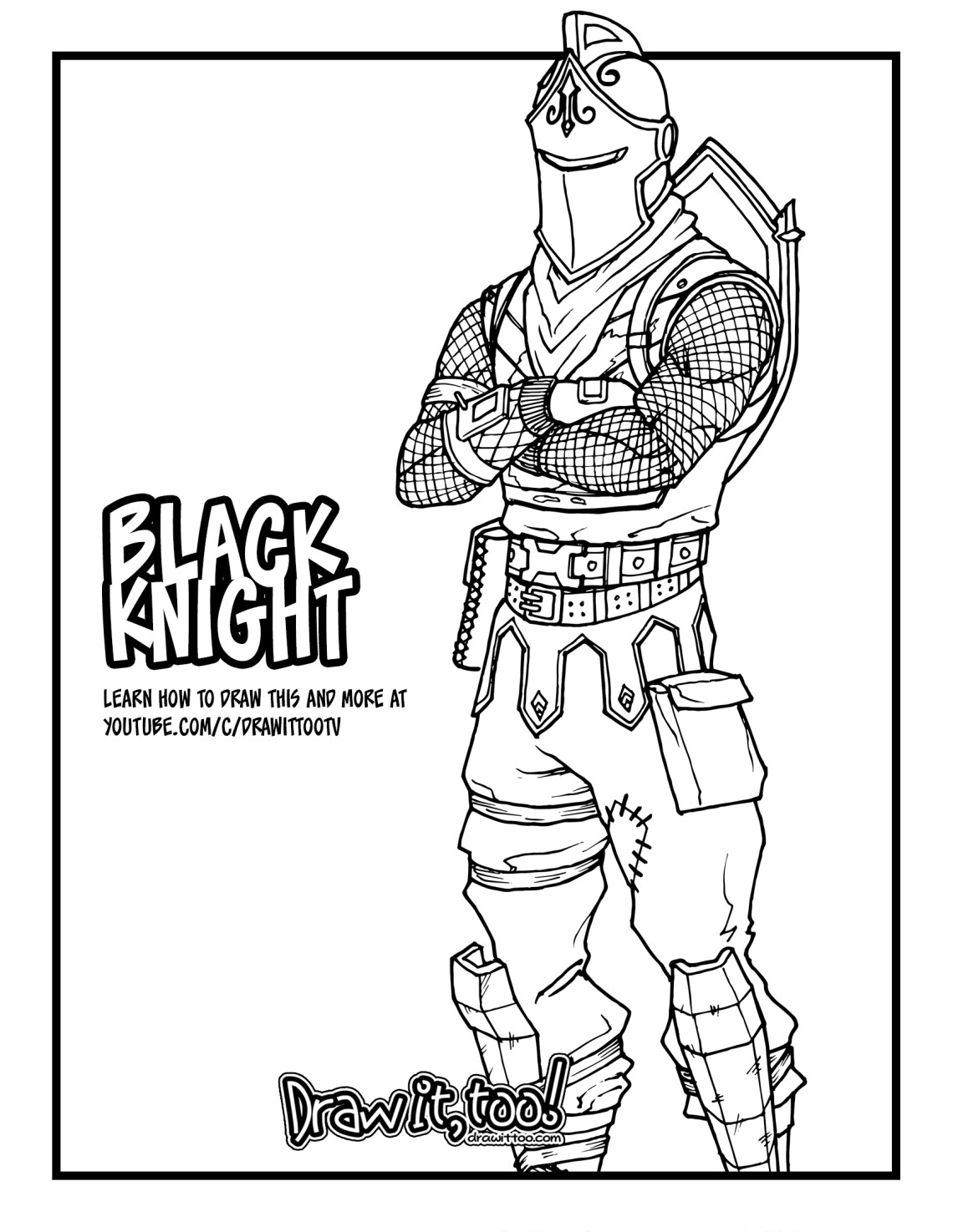 How To Draw The Black Knight Fortnite Battle Royale Drawing