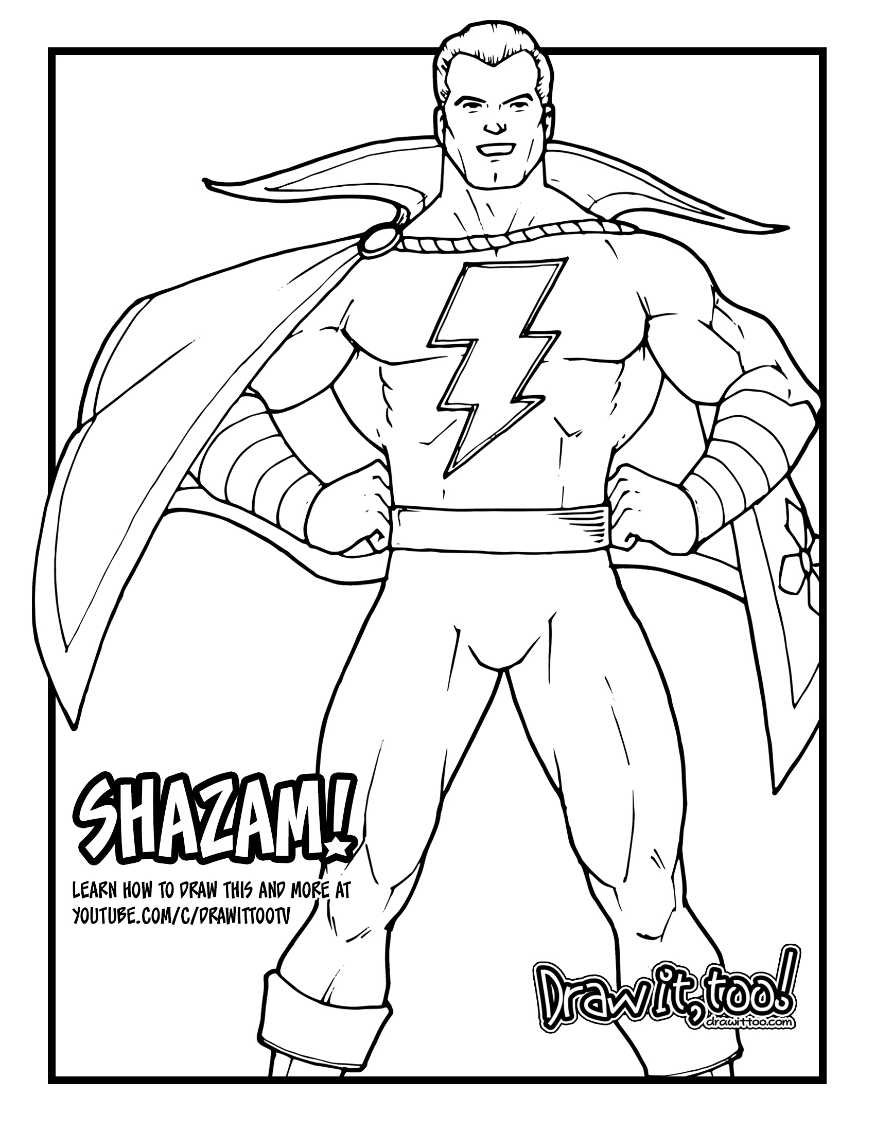 How to Draw SHAZAM! (Classic Comic Version) Drawing