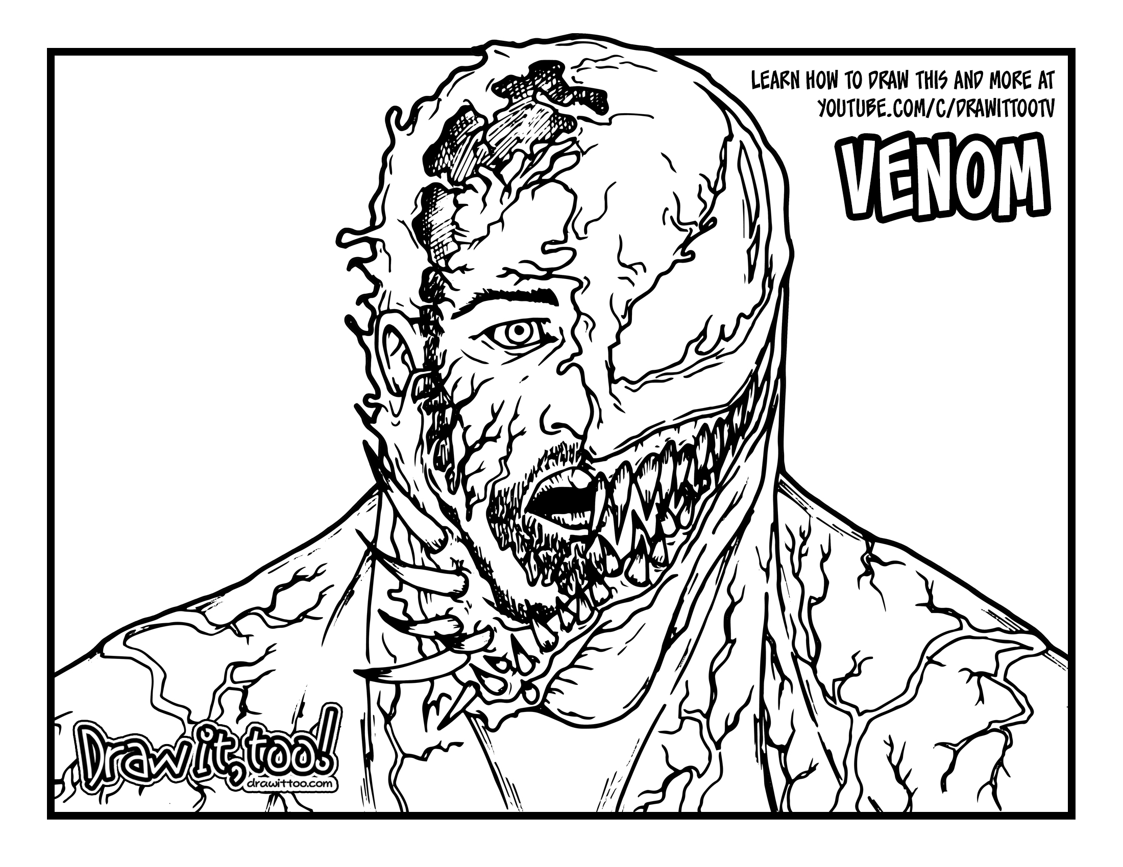How to Draw VENOM'S TRANSFORMATION (Venom 2018) Drawing