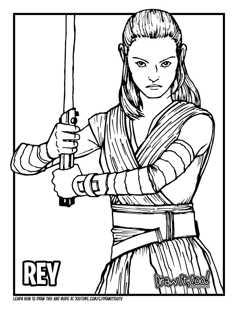 How to Draw REY (Star Wars) Drawing Tutorial   Draw it, Too!