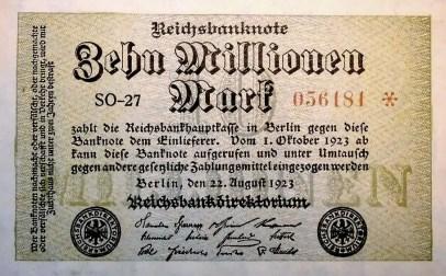 Billet allemand de  10 millions de marks 1923