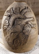 Stoneware sgraffito anatomical heart pot by Deb Langner