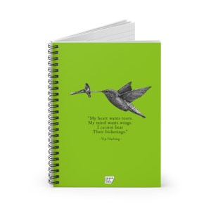 'Hummingbird' Spiral Notebook – Ruled (green)