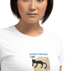 'Humans Transition. I Am.' – tshirt for a curvey contoured body