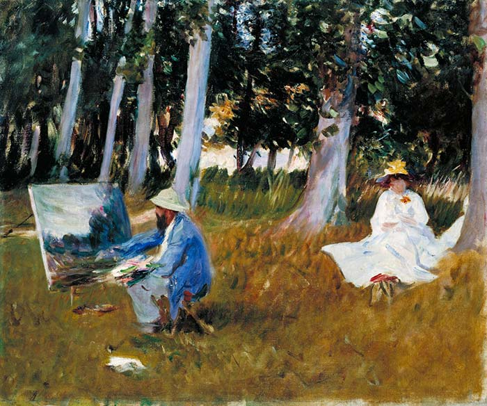 John Signer Sargent, Claude Monet Painting by the Edge of a Wood, 22x26 Inches, Oil On Canvas