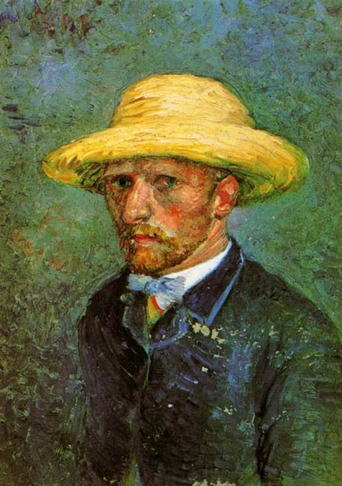 21. Vincent van Gogh, Self-Portrait With Straw Hat, 1887