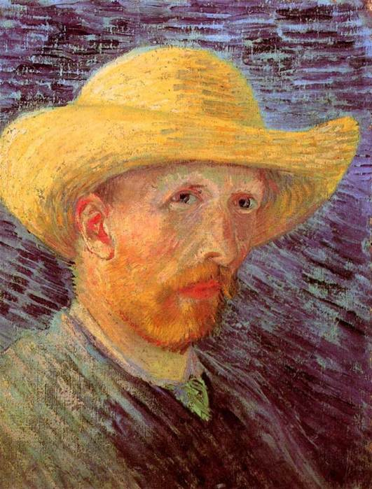 28. Vincent van Gogh, Self-Portrait With Straw Hat, 1887