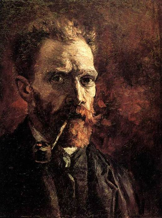 7. Vincent van Gogh, Self-Portrait With Pipe, 1886