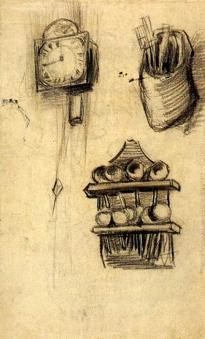 Vincent van Gogh, Clock, Clog With Cutlery And A Spoon Rack, 1885