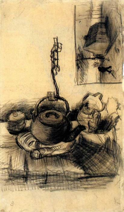 Vincent van Gogh, Kettle Over A Fire And A Cottage By Night, 1885