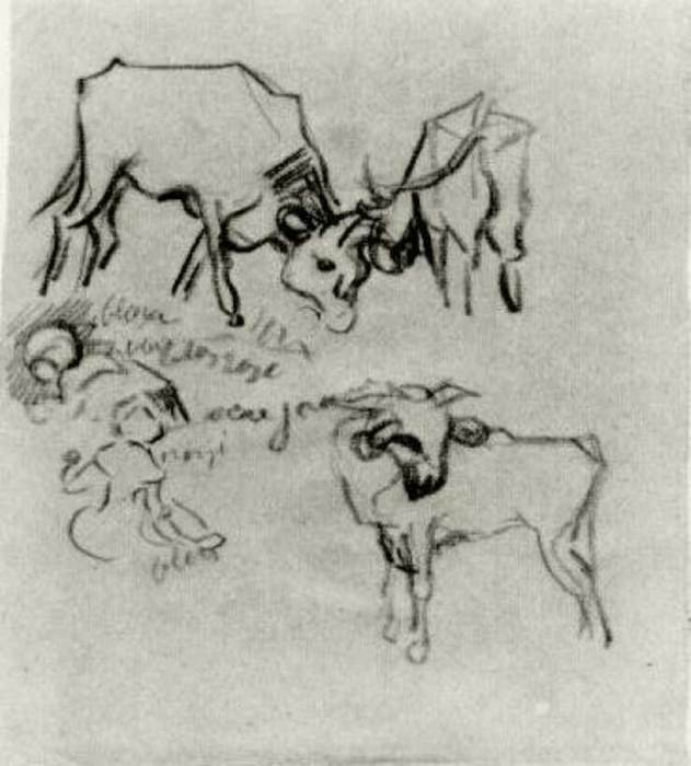 Vincent van Gogh, Sketch Of Cows And Children, 1890