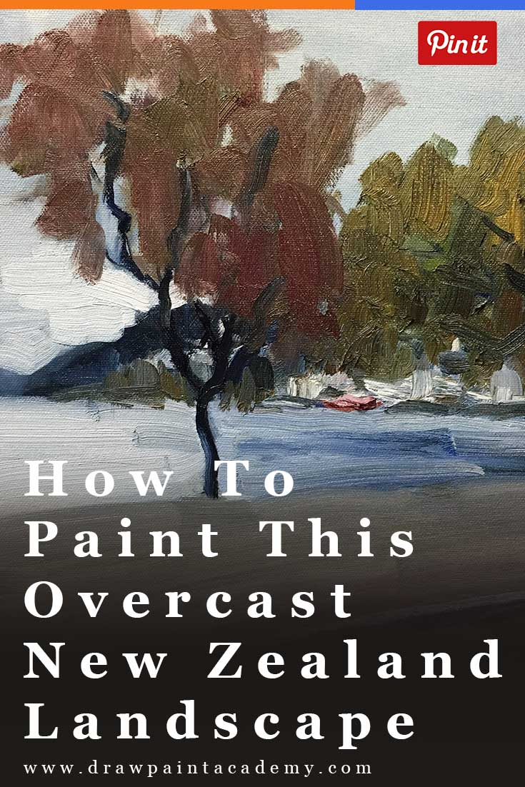 Painting Tutorial - learn to paint this overcast landscape scene from Queenstown using oils.