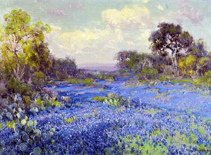 Robert Julian Onderonk, Bluebonnets At Late Afternoon, 1915
