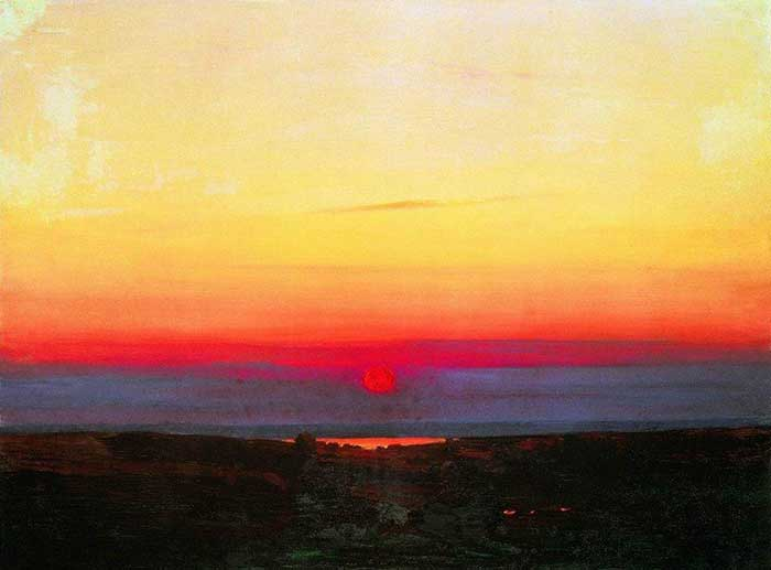 Arkhip Kuindzhi, Sunset In The Steppes By The Sea, 1908. A step by step tutorial on how to paint a beautiful sunset in oils or acrylics.