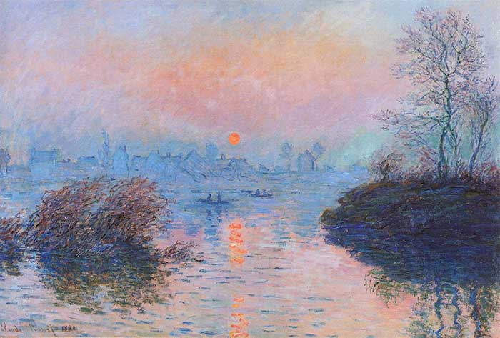 Claude Monet, Sunset On The Seine At Lavacourt, Winter Effect, 1880