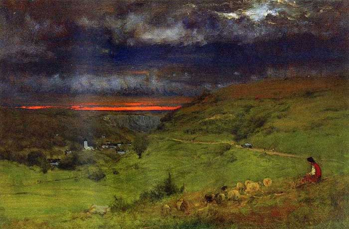George Inness, Sunset At Etretat, 1875