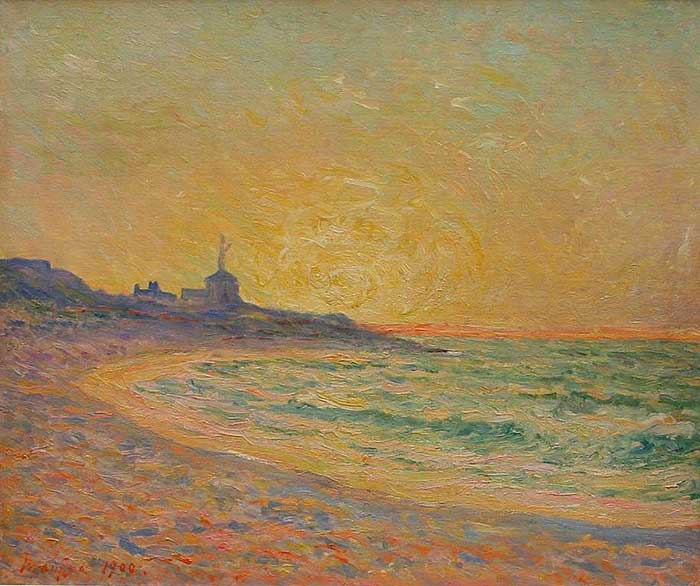 Maxime Maufra, Semaphore Of The Beg-Meil, Brittany, 1900. A step by step tutorial on how to paint a beautiful sunset in oils or acrylics.