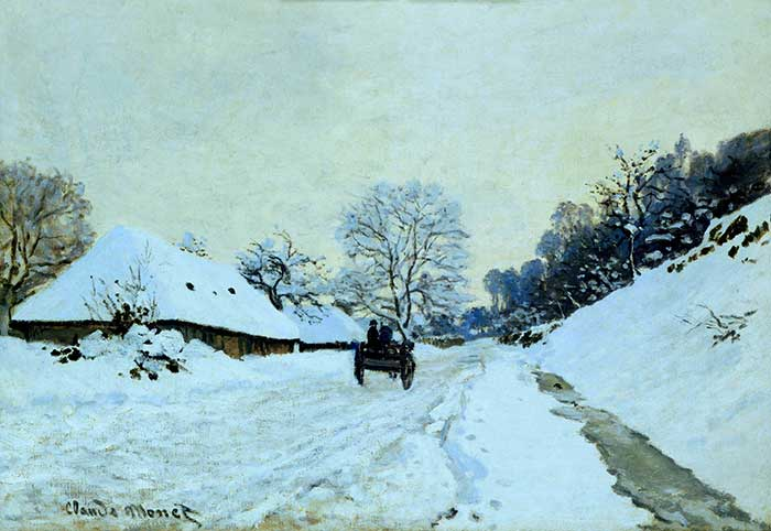 Claude Monet, Cart On The Snow Covered Road With Saint-Simeon Farm, 1865