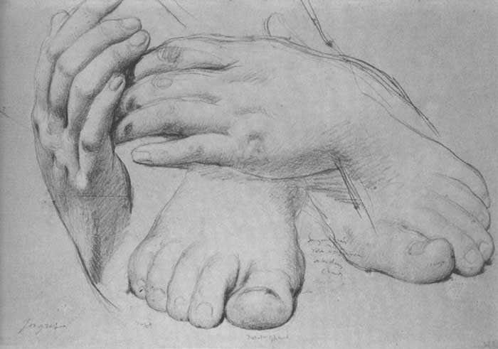 Inspirational Drawing Quotes - Jean Auguste Dominique Ingres, Study of Hands And Feet For The Golden Age, 1862
