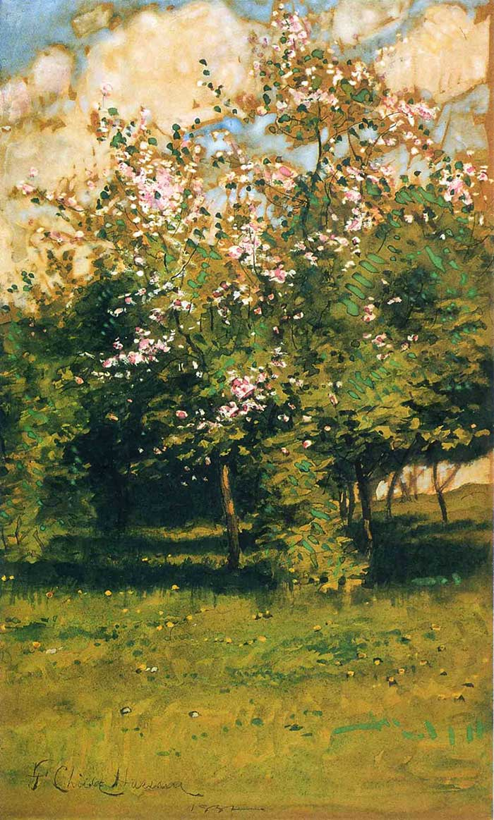 Childe Hassam, Blossoming Trees, 1882