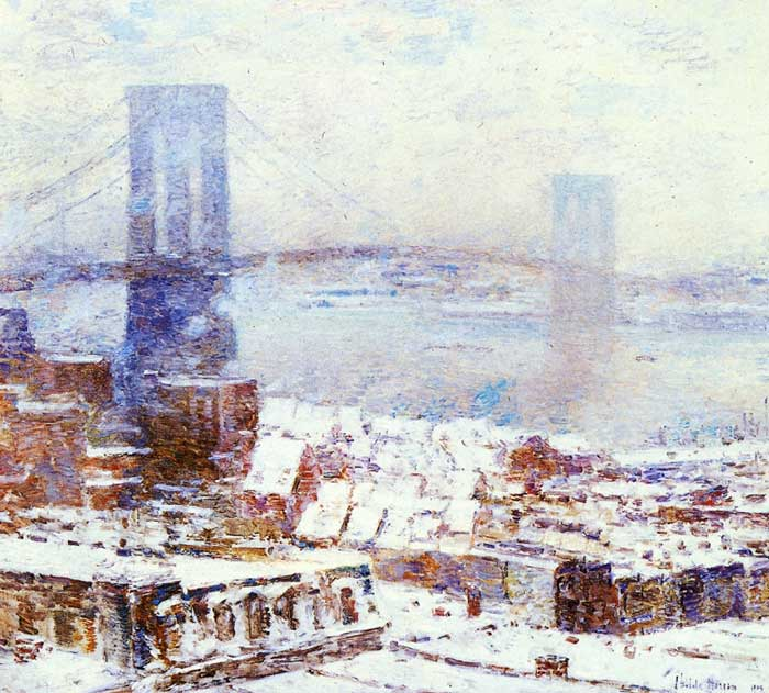 Childe Hassam, Brooklyn Bridge In Winter, 1904