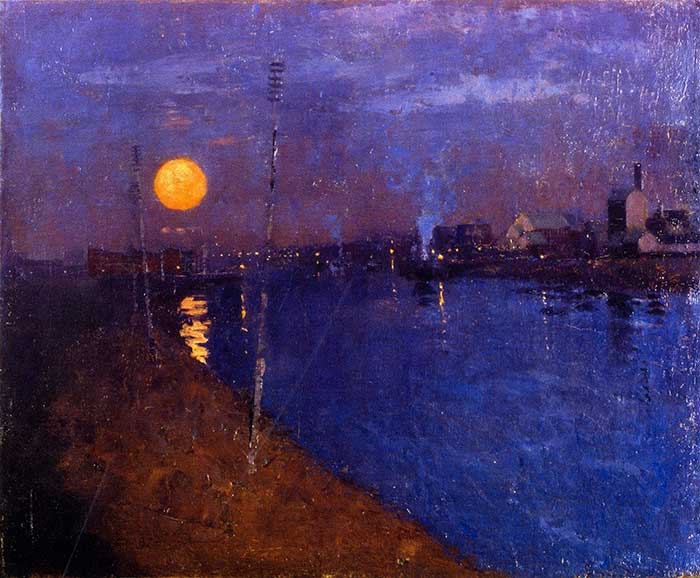 George Henry, River Landscape By Moonlight, 1887 | Muted Colors