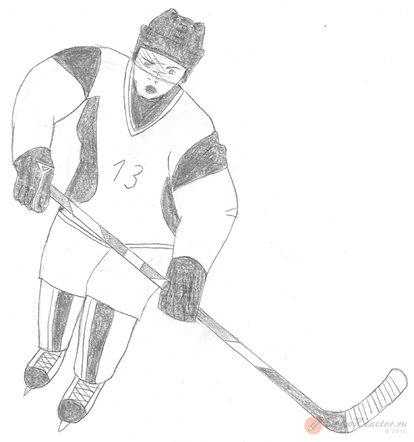 хоккеист рисунок карандашом марте решила