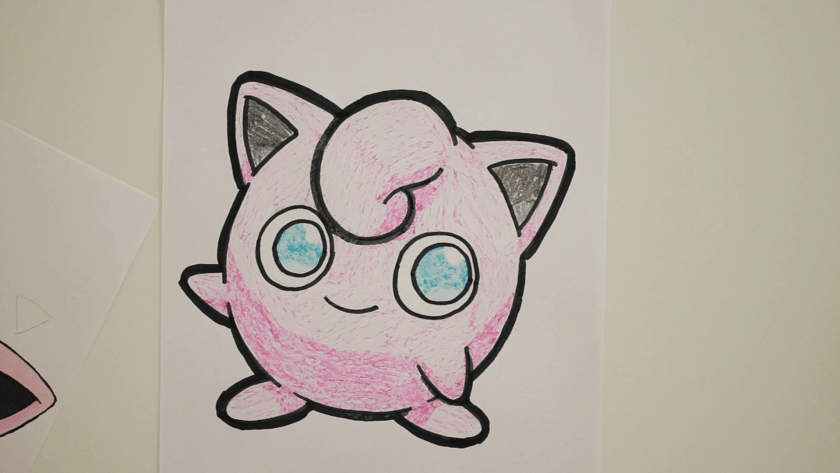 How to Draw Jigglypuff - Step 5 - Thicken Profile Lines