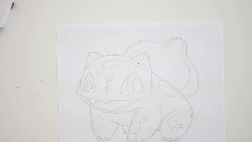How to Draw Bulbasaur - Step 2 - Refined Pencil Drawing