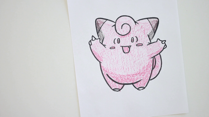 How to Draw Clefairy - Step 5 - Color in Shadow