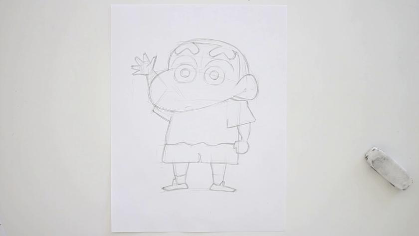 How to Draw Shinnosuke Nohara - Step 2 - Refined Pencil Drawing