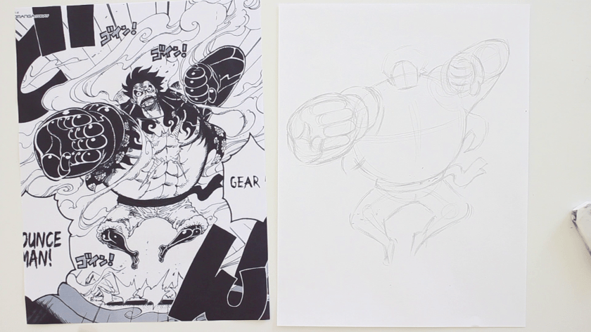 How to Draw Gear Fourth Bounce Man Luffy - Step 2 - Form Figuring