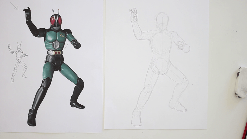 How to Draw Kamen Rider Black RX - Step 2 - Form Figuring