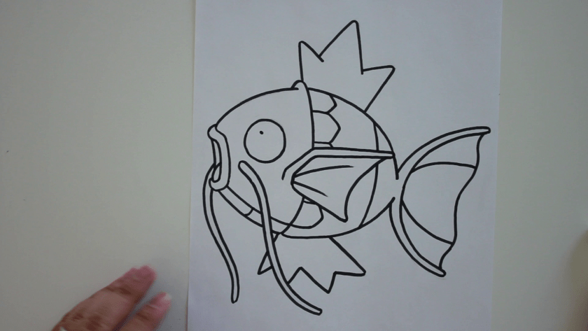How to Draw Magikarp - Step 3 - Trace Pencil Lines with Marker