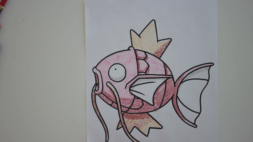 How to Draw Magikarp - Step 5 - Color in Shadow