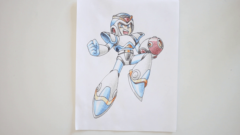 How to Draw Megaman X - Step 7 - Color in Shadow