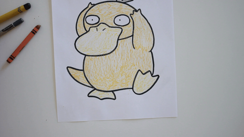 How to Draw Psyduck - Step 4 - Color in Midtone