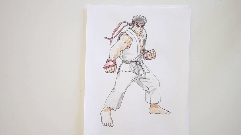 How to Draw Ryu - Step 7 - Color in Shadow