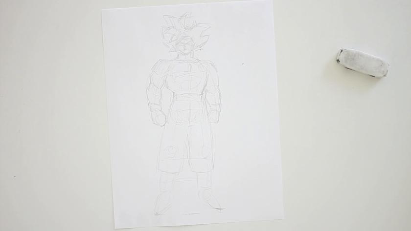 How to Draw Ultra Instinct Goku - Step 2 - Form Figuring
