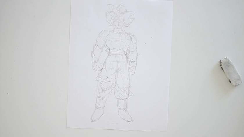 How to Draw Ultra Instinct Goku - Step 3 - Clothed Figure Drawing