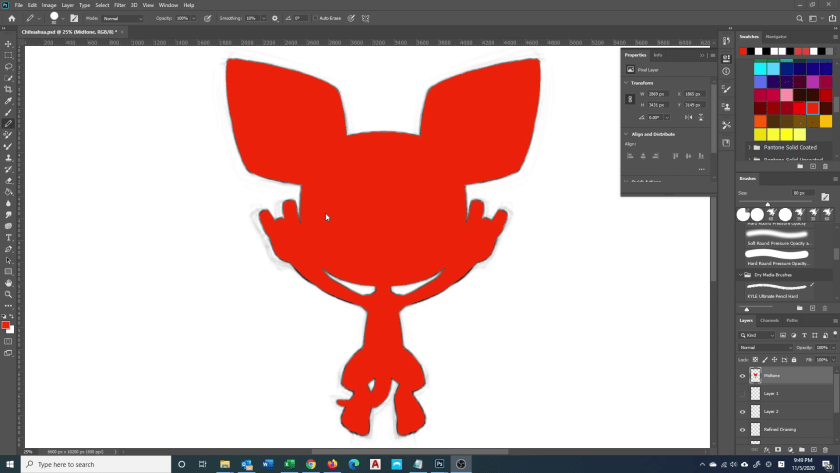 How to Draw Chihuahua - Step 3 - Silhouette