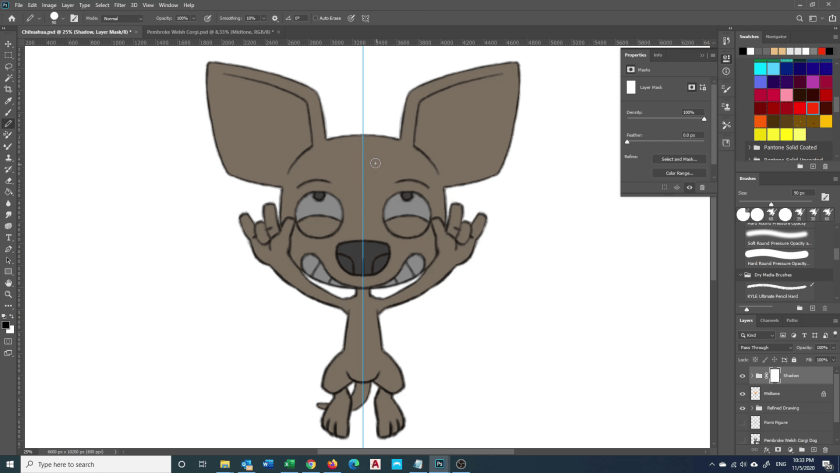 How to Draw Chihuahua - Step 5A - Rough Shadow
