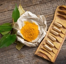 Natural herbal turmeric capsules and powder